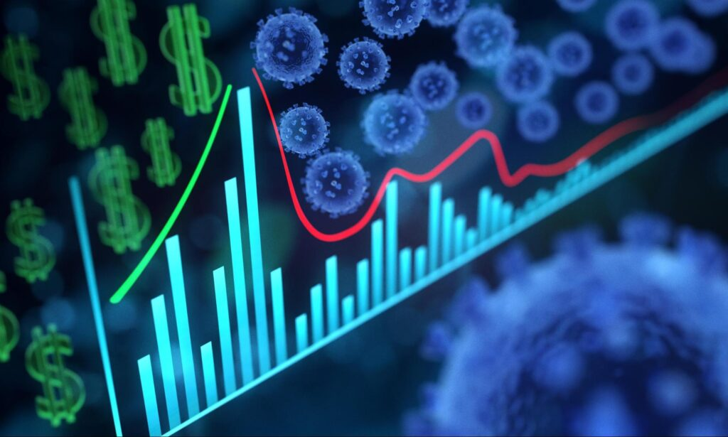 graph showing falling stock prices during the coronavirus pandemic along with dollar signs and depictions of coronavirus cells